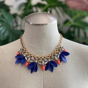 Stella & Dot Leather & Stones Statement Necklace